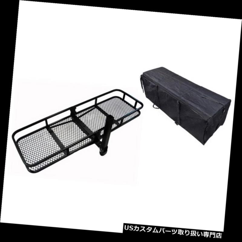 カーゴ ルーフ キャリア ユニバーサルヒッチマウント貨物キャリア荷物バスケットラック+防水貨物 Universal Hitch Mounted Cargo Carrier Luggage Basket Rack + Waterproof Cargo