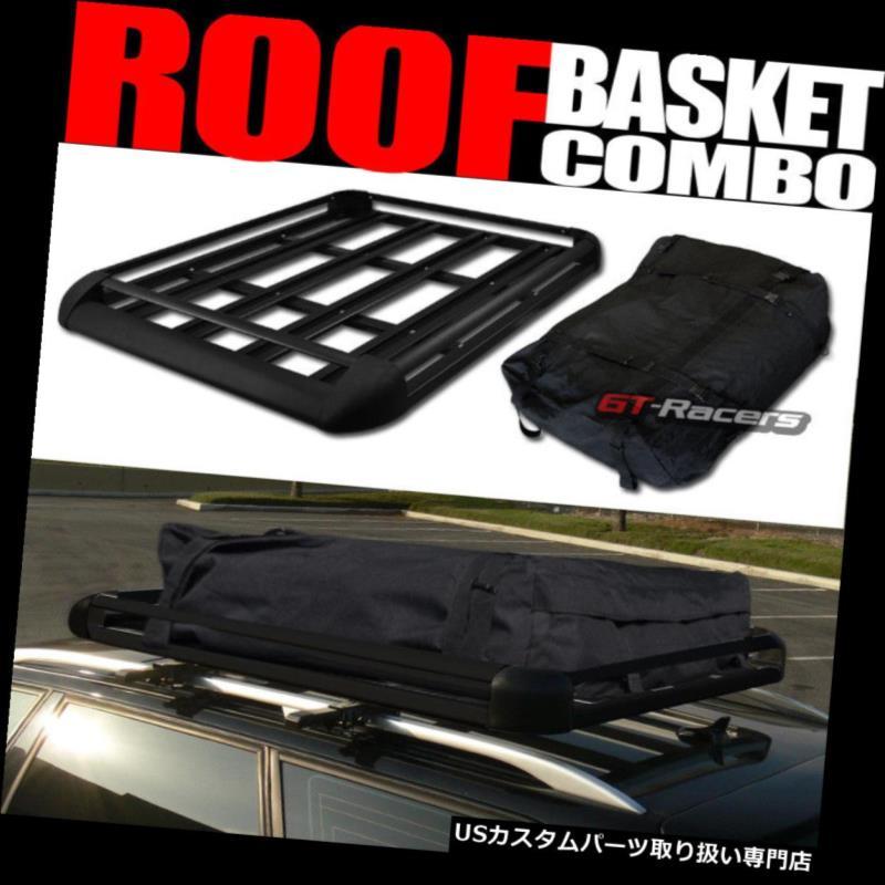カーゴ ルーフ キャリア 50インチアルミ製ルーフラックバスケットトップカーゴ手荷物収納+キャリー rバッグG04 50