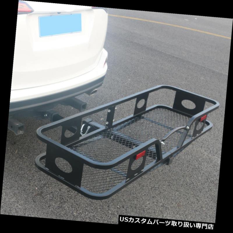 カーゴ ルーフ キャリア 折りたたみヒッチマウント貨物キャリアレシーバー荷物バスケットトラベルブラック500 LBS Folding Hitch Mounted Cargo Carrier Receiver Luggage Basket Travel Black 500LBS