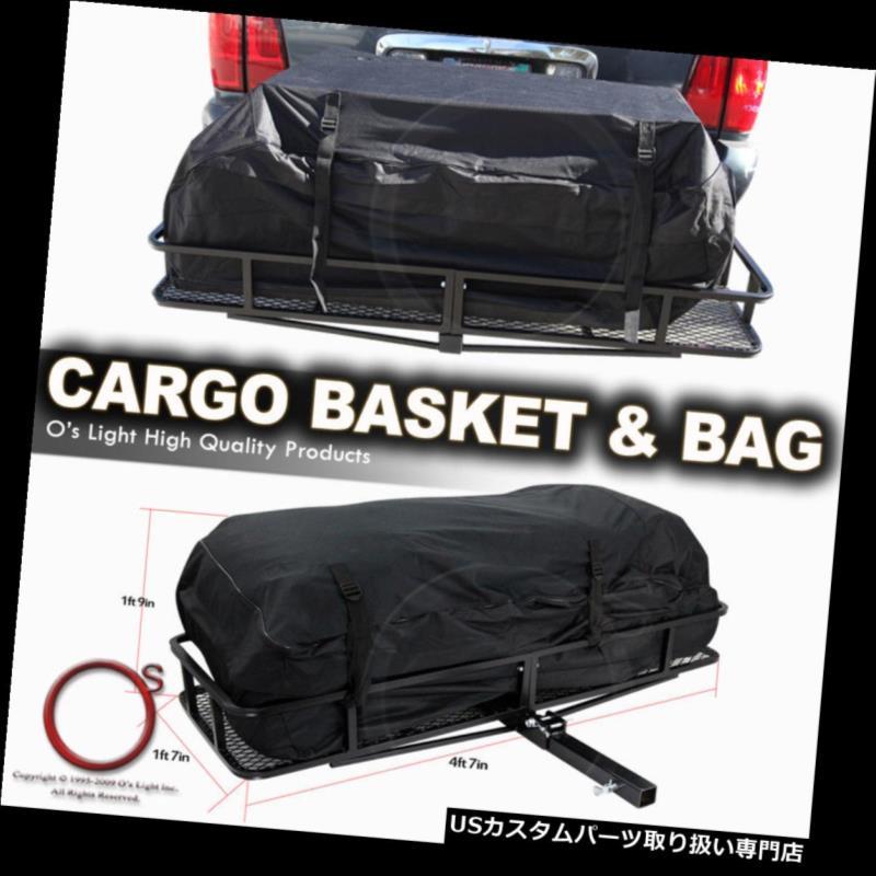 カーゴ ルーフ キャリア Daewood 99-02トレーラー牽引ヒッチラック貨物キャリア後部折りたたみバスケットw /バッグ Daewood 99-02 Trailer Tow Hitch Rack Cargo Carrier Rear Folding Basket w/Bag