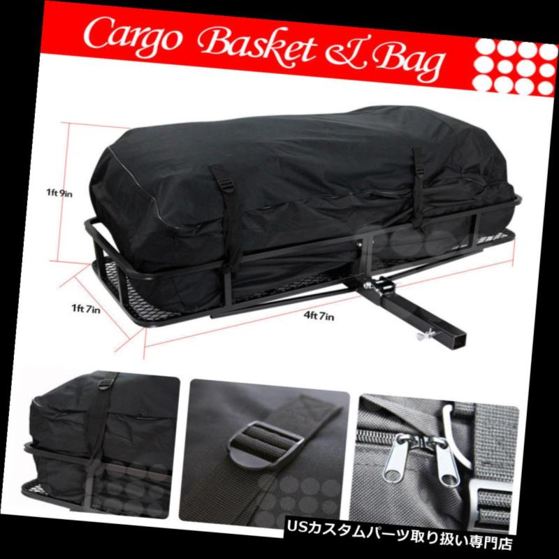 カーゴ ルーフ キャリア フィットフォード車後部ヒッチバスケット旅行荷物キャリア貨物エクステンションラック+バッグ Fit Ford Car Rear Hitch Basket Travel Luggage Carrier Cargo Extension Rack + Bag