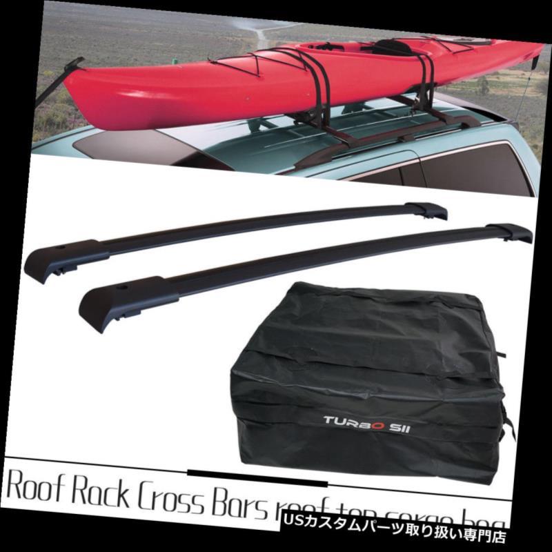 カーゴ ルーフ キャリア 2003-2008年ホンダパイロットクロスバーレール用ペアルーフラックラックキャリア+トップバッグ Pair Roof Rack for 2003-2008 Honda Pilot Crossbars Rails Rack Carrier+ Top Bag