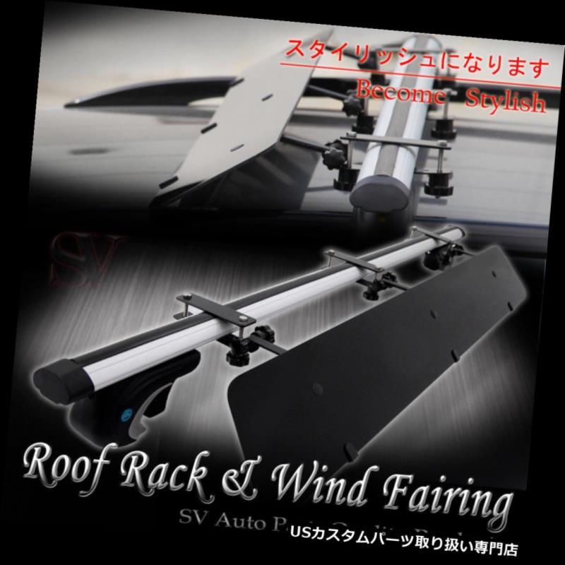 カーゴ ルーフ キャリア レールルーフトップラック48インチクロスバー+ウィンドフェアリングコンボフィットElantra Mountaineer .etc Rail Rooftop Rack 48