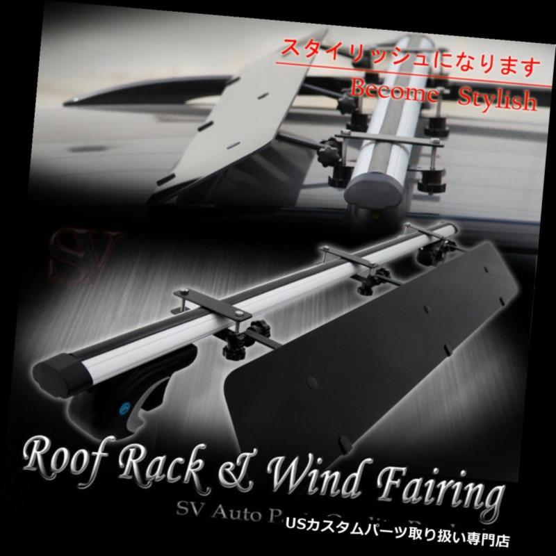 カーゴ ルーフ キャリア カーレールタワールーフトップラック48インチクロスバー+ウィンドフェアリングコンボフィットフロンティアローグ Car Rail Tower Rooftop Rack 48