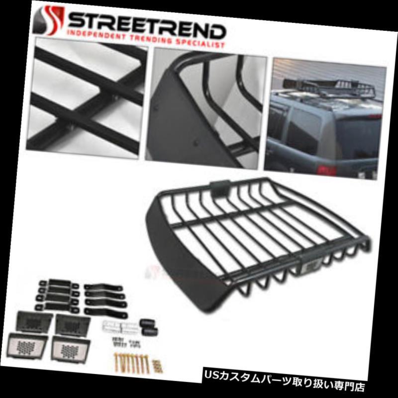 カーゴ ルーフ キャリア ユニバーサルブラックスチールルーフラックバスケットカーゴキャリアーストレージw /ウィンドフェアリングS14 Universal Black Steel Roof Rack Basket Cargo Carrier Storage w/Wind Fairings S14