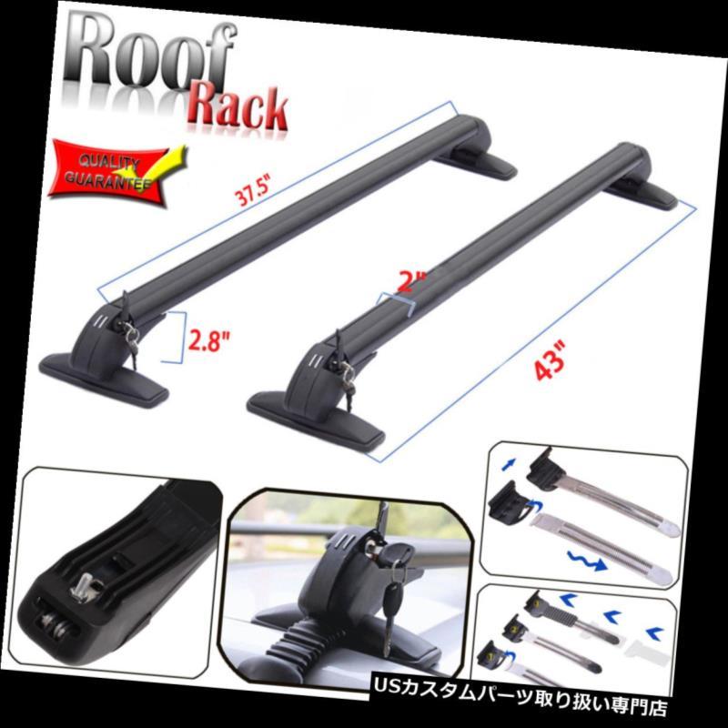 カーゴ ルーフ キャリア 2倍調節可能なユニバーサルカートップ荷物貨物クロスバールーフラックキャリアブラック 2x Adjustable Universal Car Top Luggage Cargo Cross Bars Roof Rack Carrier Black
