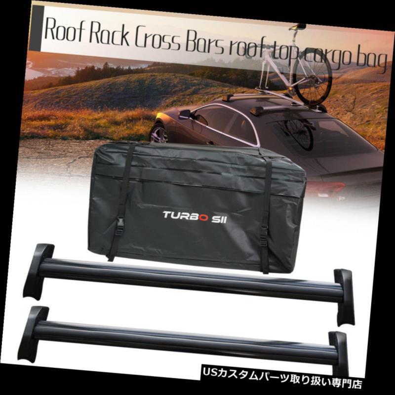 カーゴ ルーフ キャリア 02-06ホンダCR-V用ペアブラックルーフラッククロスバートップキャリー+トップルーフバッグ Pair Black Roof Rack Cross Bars Top Carries +Top Roof Bags For 02-06 Honda CR-V