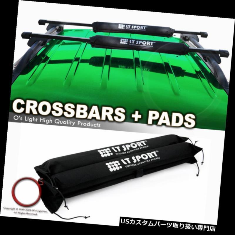 カーゴ ルーフ キャリア ダッジキャラバン/デュラン o /ジャーニールーフラックブラッククロスバーセットトップバー+プロテクトパッド Dodge Caravan/Durango/Journey Roof Rack Black Crossbar Set Top Bars +Protect Pad