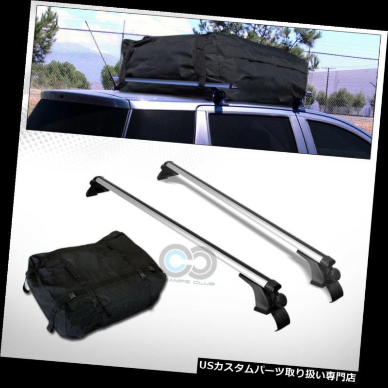 """50/"""" BLACK WINDOW FRAME ROOF RACK CROSS BARS KIT+WATERPROOF CARGO CARRIER BAG C04"""