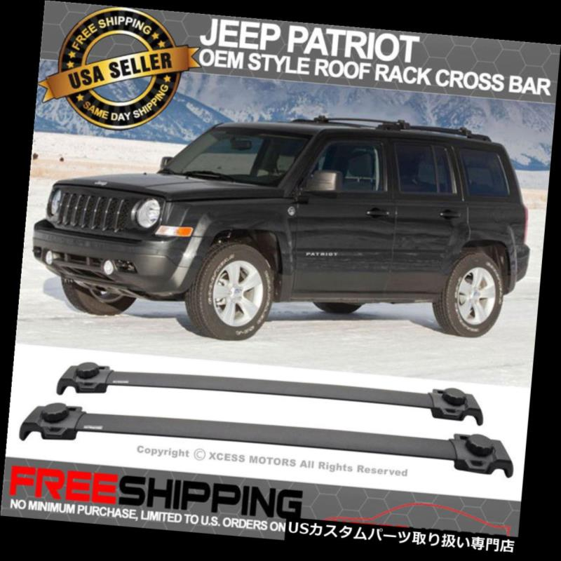 カーゴ ルーフ キャリア 07-15ジープパトリオットOEスタイルルーフラッククロスバー2PCSブラックアルミにフィット Fits 07-15 Jeep Patriot OE Style Roof Rack Cross Bar 2PCS Black Aluminum