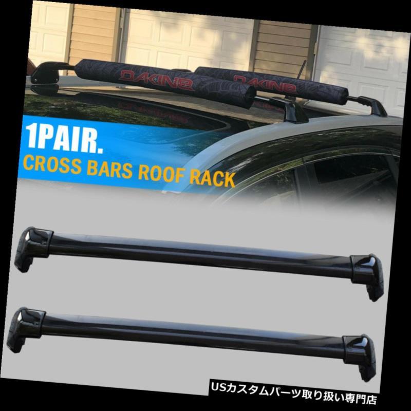 カーゴ ルーフ キャリア 2012-2015年ホンダCRVブラックルーフラッククロスバートップボルトキャリアへのボルトオン For 2012-2015 Honda CRV Black Roof Rack Cross Bars Bolt-On to Top Cargo Carrier