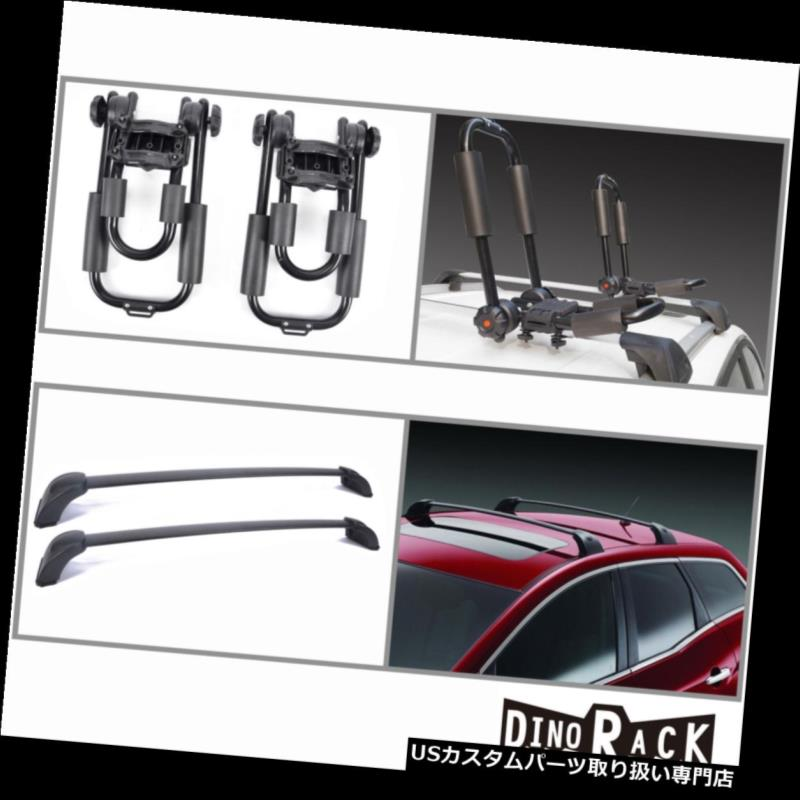 カーゴ ルーフ キャリア フィット07-12マツダCX-7 BLKアルミルーフラッククロスバー+ Jバーカヤックキャリア新しい Fit 07-12 Mazda CX-7 Blk Aluminum Roof Rack Cross Bars+J-Bar Kayak Carriers New