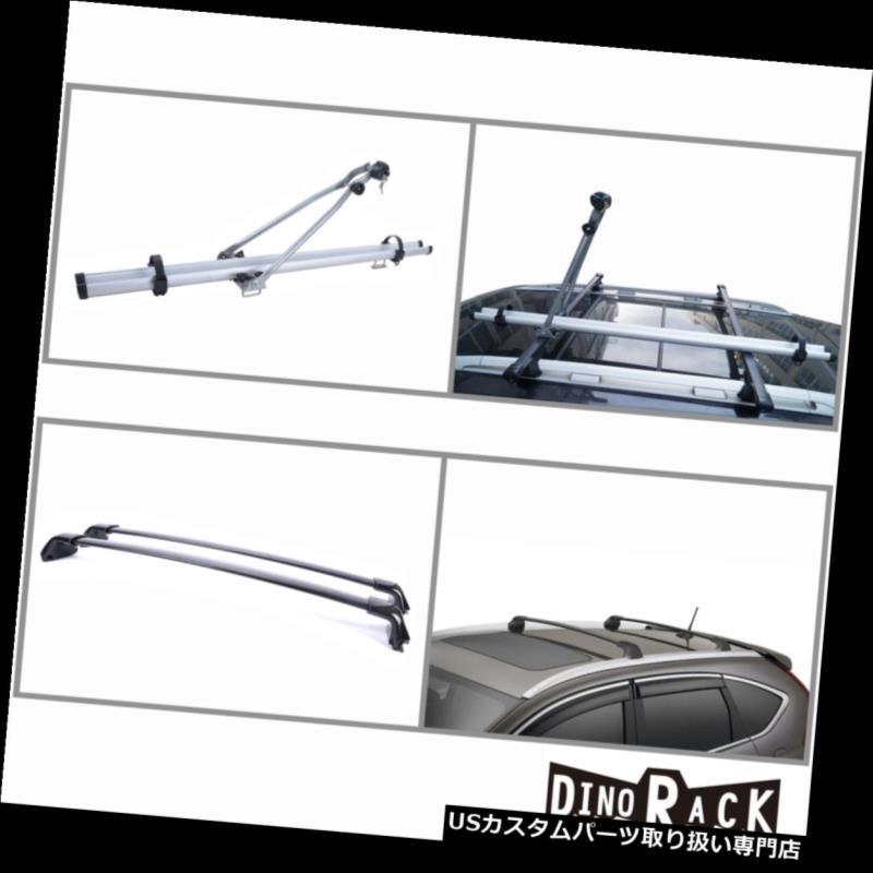 カーゴ ルーフ キャリア フィット12-15ホンダCR-Vブラックアルミルーフラッククロスバー+自転車アップライトキャリア Fit 12-15 Honda CR-V Black Aluminum Roof Rack Cross Bars+Bicycle Upright Carrier