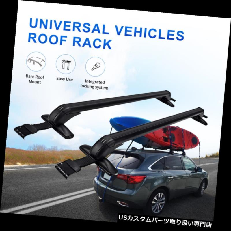 カーゴ ルーフ キャリア 調節可能なアルミニウム車の上のルーフラックのクロスバーの荷物のキャリアの貨物132LBS Aluminum Car Top Roof Rack Cross Bar Luggage Carrier Cargo 132LBS Adjustable
