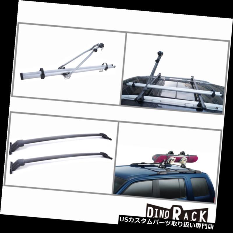 カーゴ ルーフ キャリア フィット09-15ホンダパイロットブラックアルミルーフラッククロスバー+自転車アップライトキャリア Fit 09-15 Honda Pilot Blk Aluminum Roof Rack Cross Bars+Bicycle Upright Carrier