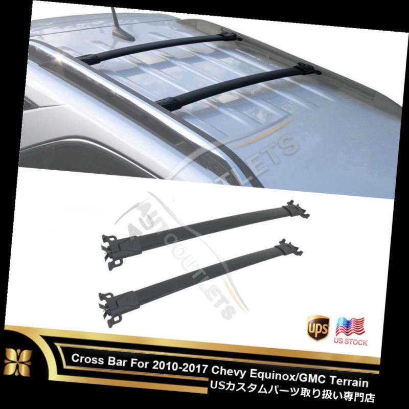 カーゴ ルーフ キャリア 10-17 Equinox / Terrai  n Blkアルミ製OEスタイルルーフラッククロスバーキャリアレール用 For 10-17 Equinox/Terrain Blk Aluminum OE Style Roof Rack Cross Bar Carrier Rail