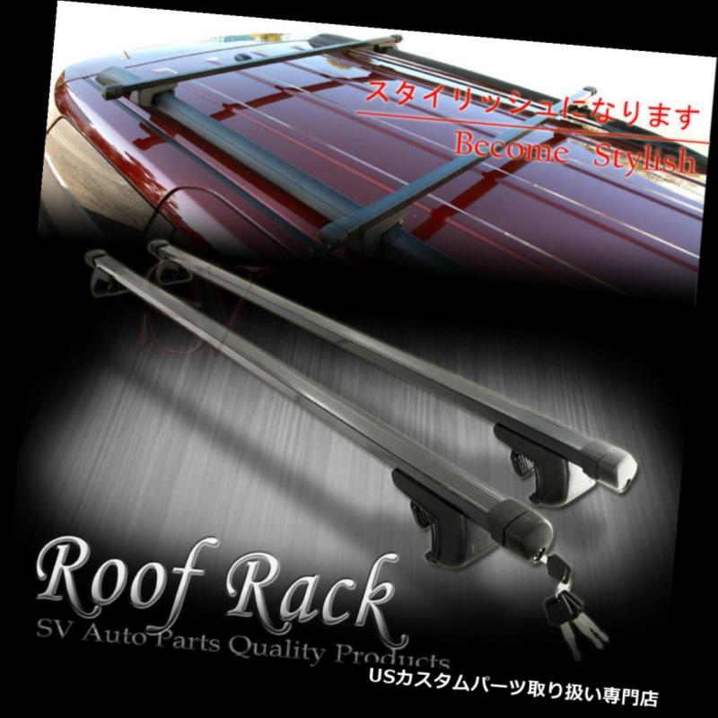 カーゴ ルーフ キャリア キャデラックルーフラックキーロッククロスバートップレールマウントブラックカーゴキャリア用 For Cadillac Roof Rack Key Lock Cross Bar Top Rail Mount Black Cargo Carrier