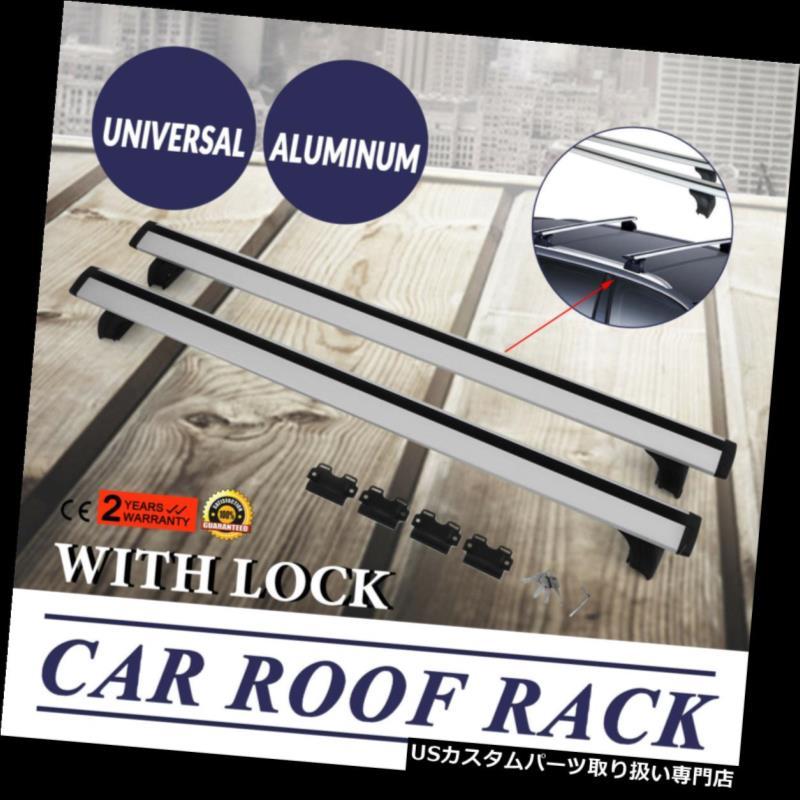 カーゴ ルーフ キャリア ロックユニバーサルSUVパーツホルダー付き2個ルーフラッククロスバー貨物荷物 2Pcs Roof Rack Cross Bar Cargo Luggage With Lock Universal SUV Parts Holder
