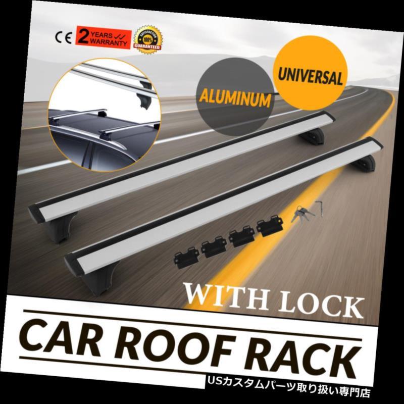 カーゴ ルーフ キャリア ロックユニバーサルライトクロスバースライバー付き2個ルーフラッククロスバー貨物荷物 2Pcs Roof Rack Cross Bar Cargo Luggage With Lock Universal Light Crossbar Sliver
