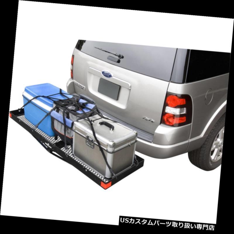 カーゴ ルーフ キャリア 貨物キャリアヒッチマウントレシーバー荷物ラック旅行キャンプ用品SUV RV 2インチ Cargo Carrier Hitch Mount Receiver Luggage Rack Travel Camping Gear SUV RV 2 In
