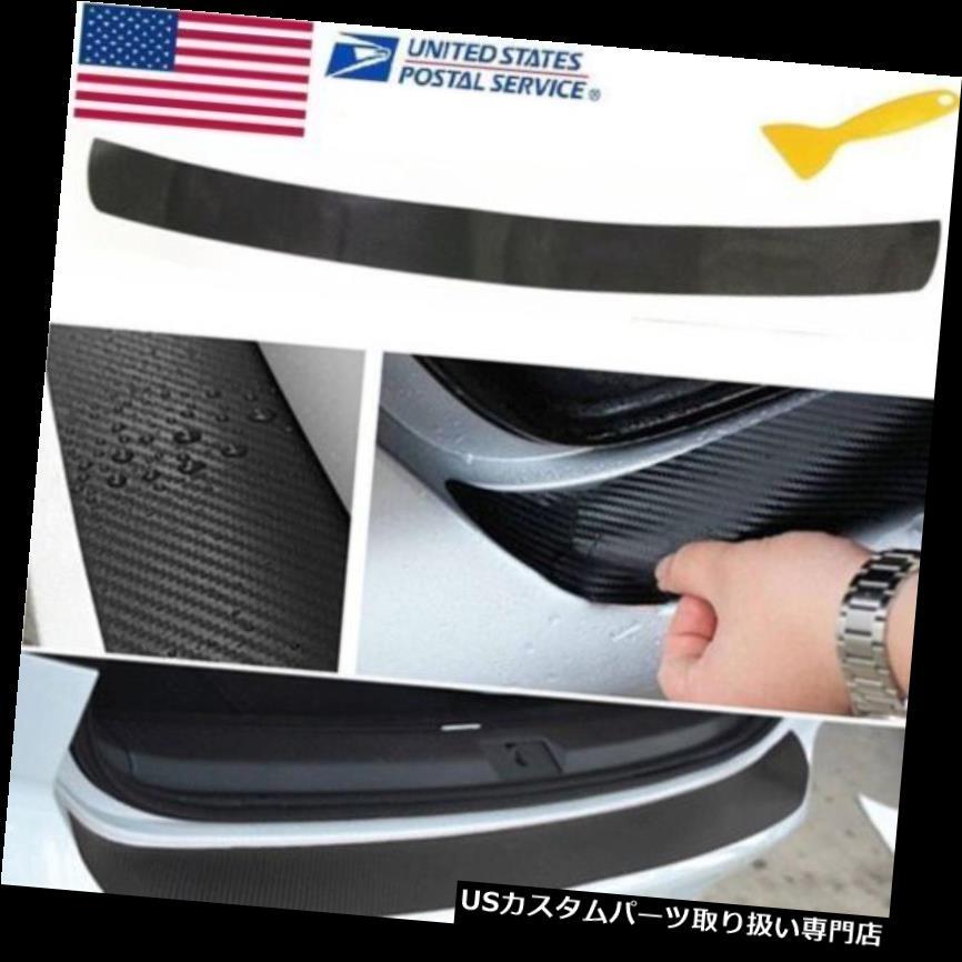 リアバンパー プロテクター 4Dカーボンファイバールックオートリアトランクテールリッププロテクトスクラッチブラックステッカー 4D Carbon Fiber Look Auto Rear Trunk Tail Lip Protect Anti Scratch Black Sticker