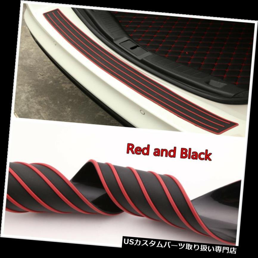 リアバンパー プロテクター ユニバーサルバンパーシル/プロテクターガードパッド車オフロードリアトランクガードレッド&ブラック Universal Bumper Sill/Protector Guard Pad Car Offroad Rear Trunk Guard Red&Black