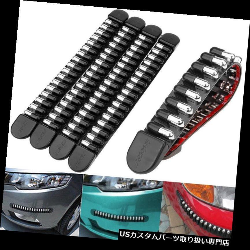 リアバンパー プロテクター 4倍車のフロントリアバンパープロテクタークロームゴムコーナーガードスクラッチステッカー 4x Car Front Rear Bumper Protector Chrome Rubber Corner Guard Scratch Sticker
