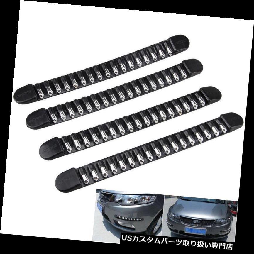 リアバンパー プロテクター 4ピースクロームゴム車のフロントリアバンパープロテクターコーナーガードスクラッチステッカー# 4PC Chrome Rubber Car Front Rear Bumper Protector Corner Guard Scratch Sticker #