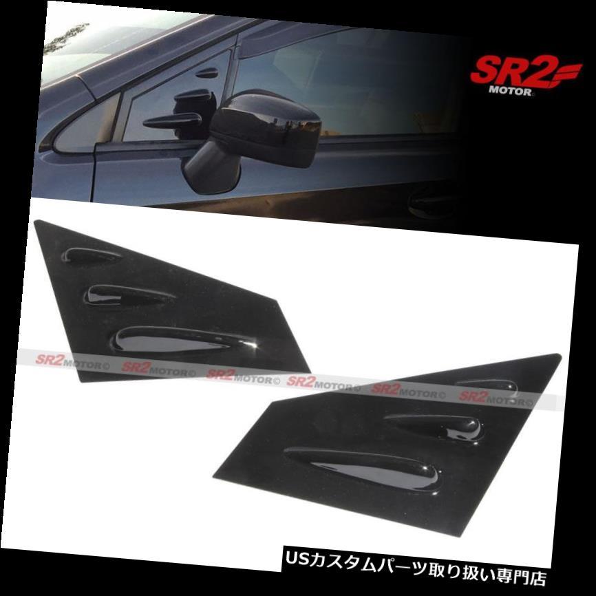 ウィンドウルーバー 光沢のある黒塗装サイドミラーウィンドウルーバーパネルフィット15-18スバルWRX STI Glossy Black Painted Side Mirror Window Louver Panel fit 15-18 Subaru WRX STI