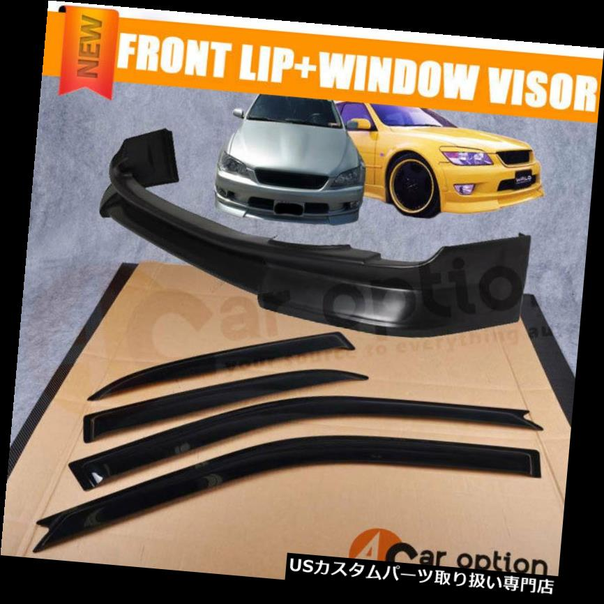 ウィンドウルーバー 01-05 Lexus Is300 4Dr IK PUフロントバンパーリップ+サンウィンドウバイザーにフィット Fits 01-05 Lexus Is300 4Dr IK PU Front Bumper Lip + Sun Window Visor