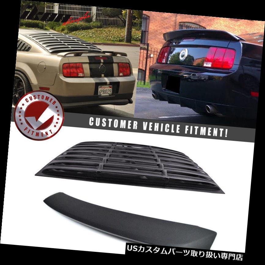 ウィンドウルーバー フィット05-09フォードマスタングリアウィンドウルーバー+ OEスタイルトランクスポイラーマットブラック Fits 05-09 Ford Mustang Rear Window Louver + OE Style Trunk Spoiler Matte Black