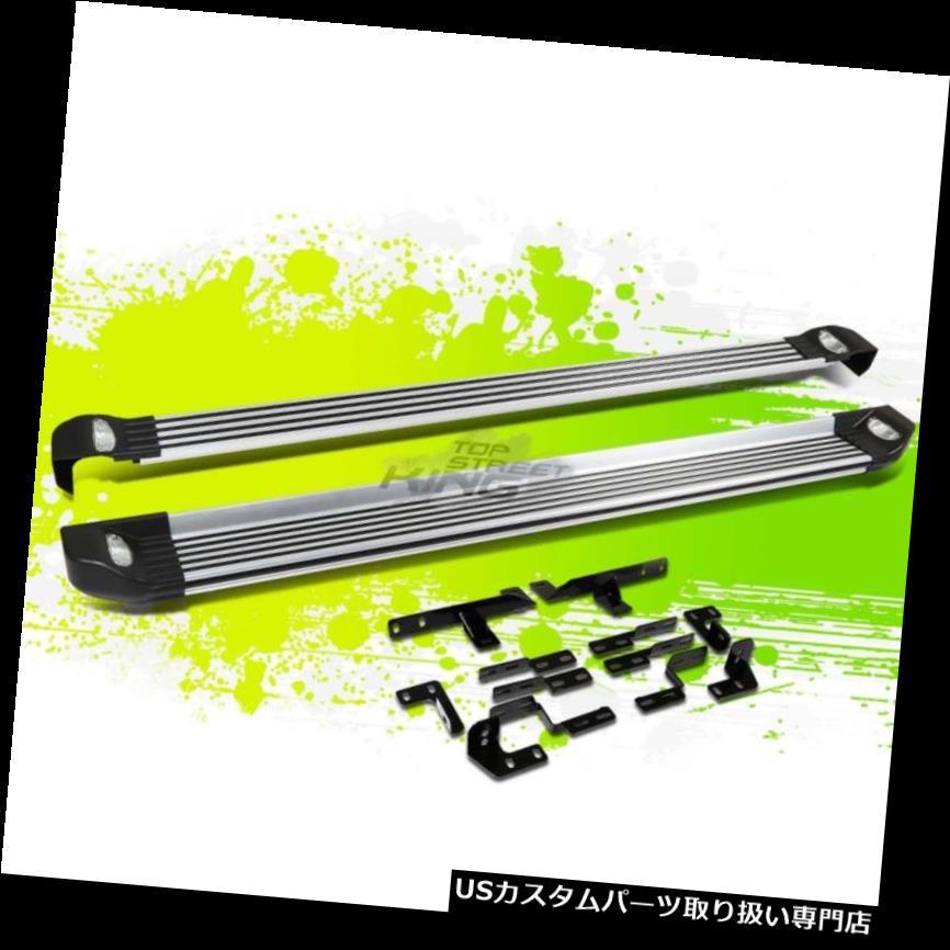 サイドステップ ブラシをかけられたアルミニウムランニングボードサイドステップバー&ライトハイライト08-13 BRUSHED ALUMINUM RUNNING BOARD SIDE STEP NERF BAR+LIGHT FOR 08-13 HIGHLANDER