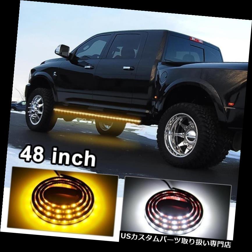 サイドステップ シボレーGMCトラック用ペア2色48インチランニングボードサイドステップLEDライトバーキット Pair 2-Color 48'' Running Board Side Step LED Light Bar Kit for Chevy GMC Truck