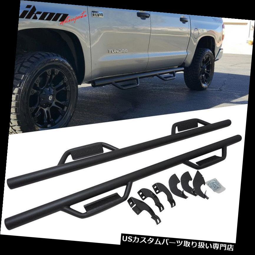 サイドステップ 07-19トヨタツンドラクルーマックスキャブサイドステップバーランニングボードNerfバーブラック Fits 07-19 Toyota Tundra CrewMax Cab Side Step Bar Running Boards Nerf Bar Black