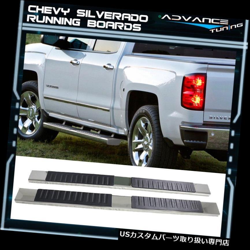 サイドステップ 04-13シボレーシルバラードクルーキャブ6インチサイドステップバーランニングボードクロームペア For 04-13 Chevy Silverado Crew Cab 6inch Side Step Bar Running Board Chrome Pair