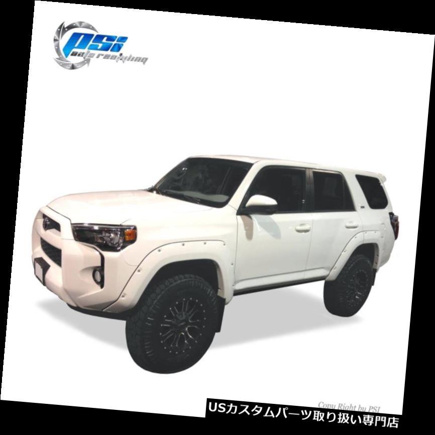 オーバーフェンダー 黒塗装ポケットリベットボルトフェンダーフレア14-17トヨタ4ランナーフルセット Black Paintable Pocket Rivet Bolt Fender Flares 14-17 Toyota 4Runner Full Set