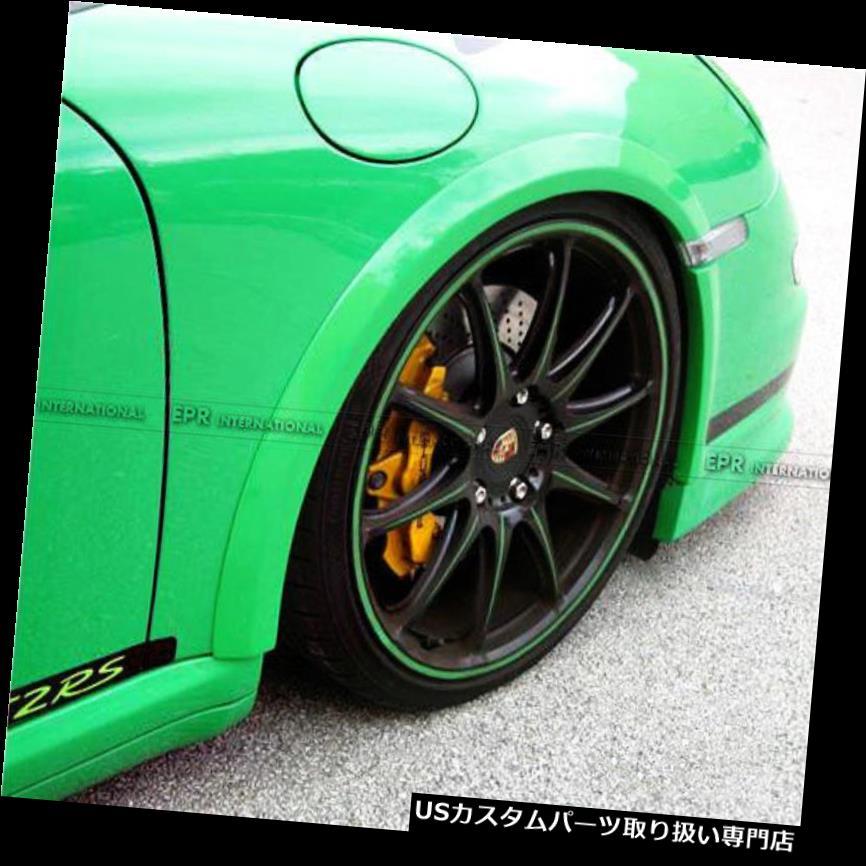 オーバーフェンダー ポルシェ997 GT3 FRP繊維4本RSスタイル用フロントフェンダーホイールアーチフレア Front Fender Wheel Arch Flares For Porsche 997 GT3 FRP Fiber 4Pcs RS Style