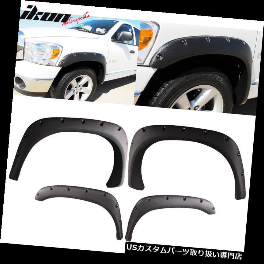 Fit 03-08 Ram 1500-3500 Pocket-Riveted Matte Abs Side Wheel Fender Flare//Cover