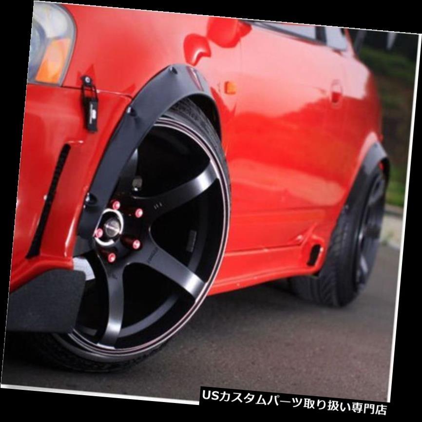 オーバーフェンダー 1セット黒耐久性のある柔軟なポリウレタンカー自動車外装フェンダーフレア 1Set Black Durable Flexible Polyurethane Car Automobile Exterior Fender Flares