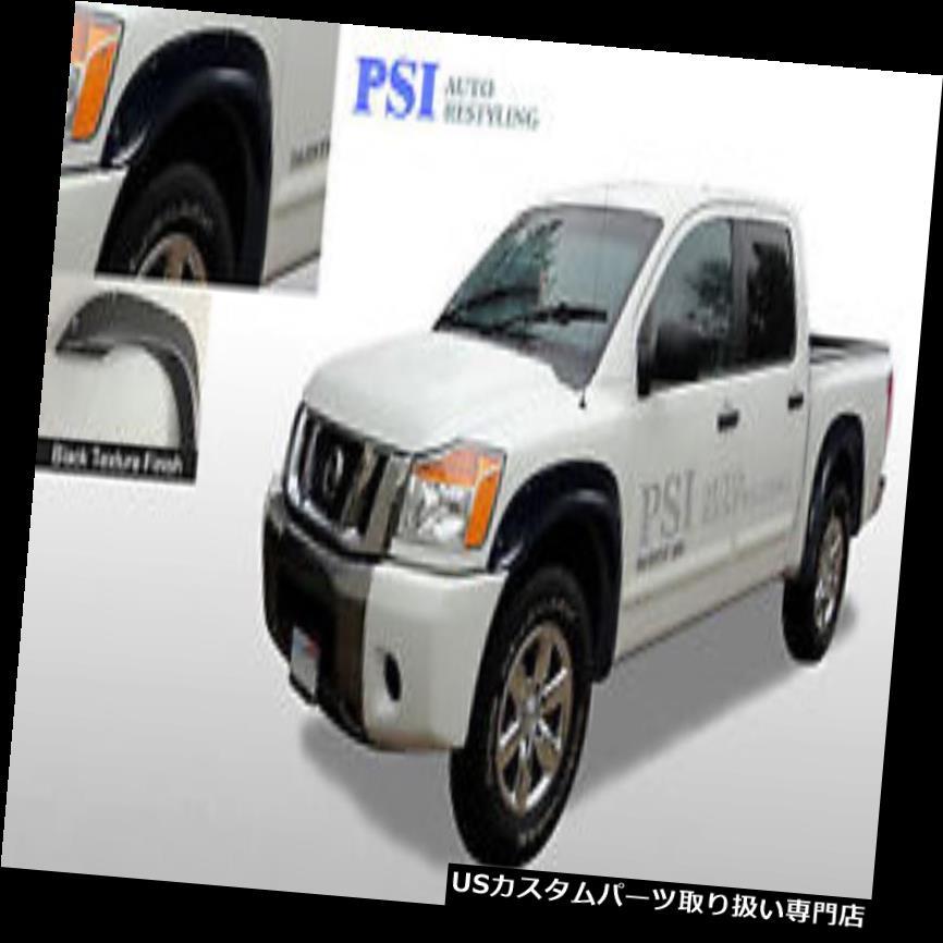 Black Pocket Front /& Rear Fender Flares Fits Nissan Titan Bedside Lockbox Only