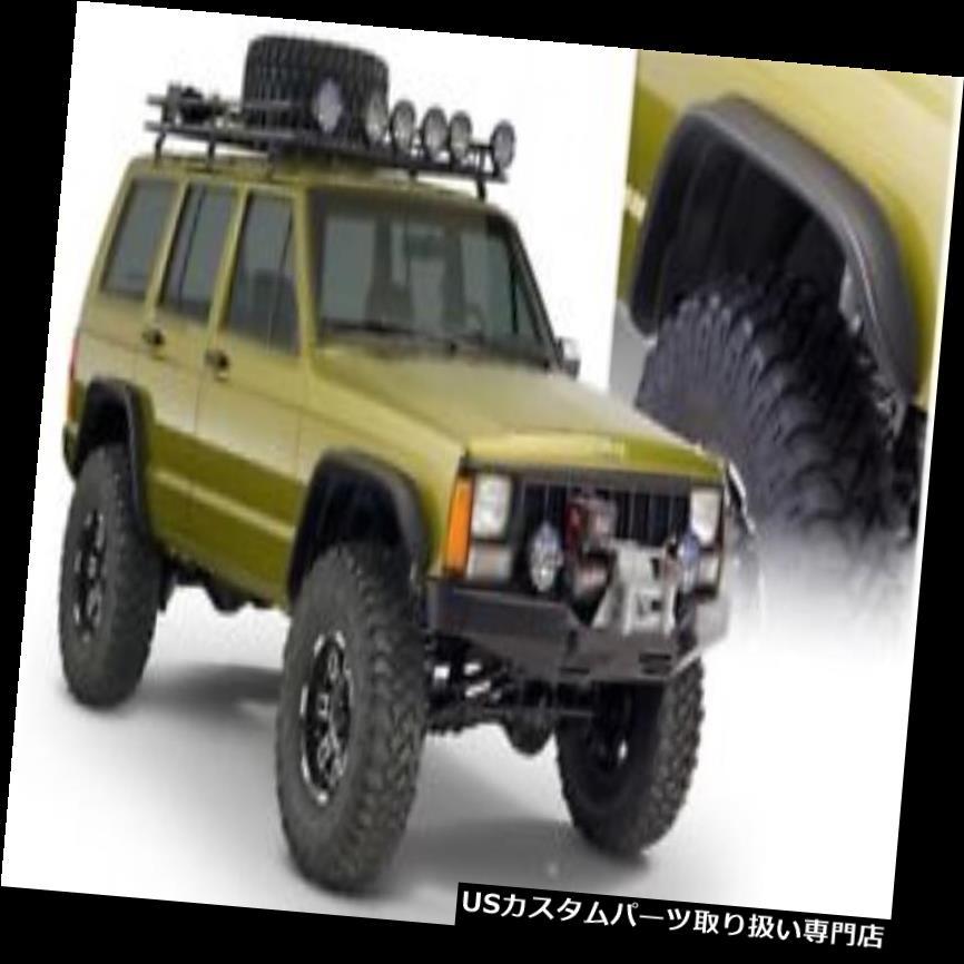 オーバーフェンダー Bushwackerフラットスタイルフェンダーフレア84-01ジープチェロキー用フロントとリアのペア Bushwacker Flat Style Fender Flares Front And Rear Pair For 84-01 Jeep Cherokee