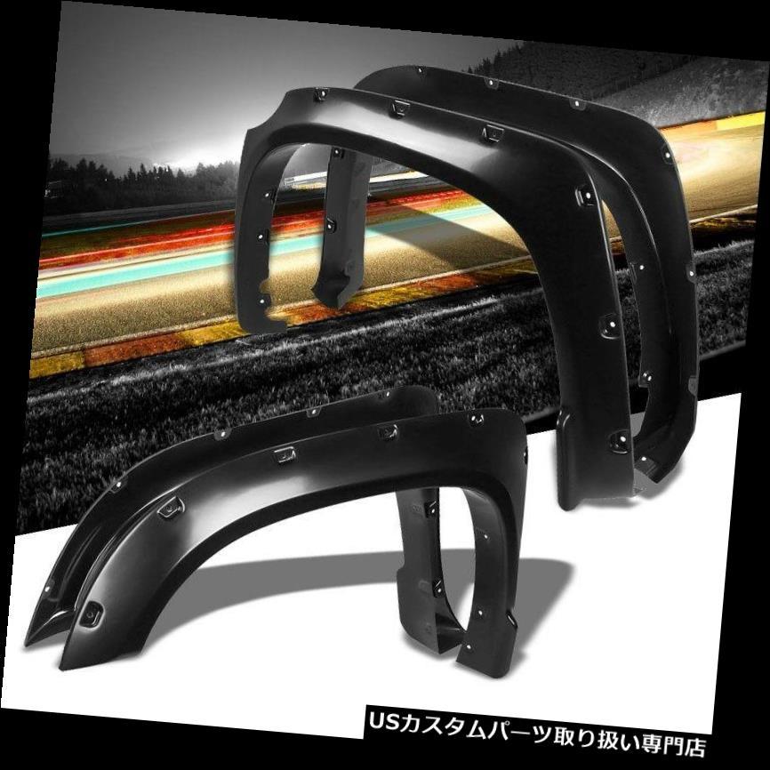 オーバーフェンダー 14-17ツンドラ用ブラックABSポケットリベットスタイルホイールフェンダーフレアガード Black ABS Pocket-Riveted Style Wheel Fender Flares Guard For 14-17 Tundra