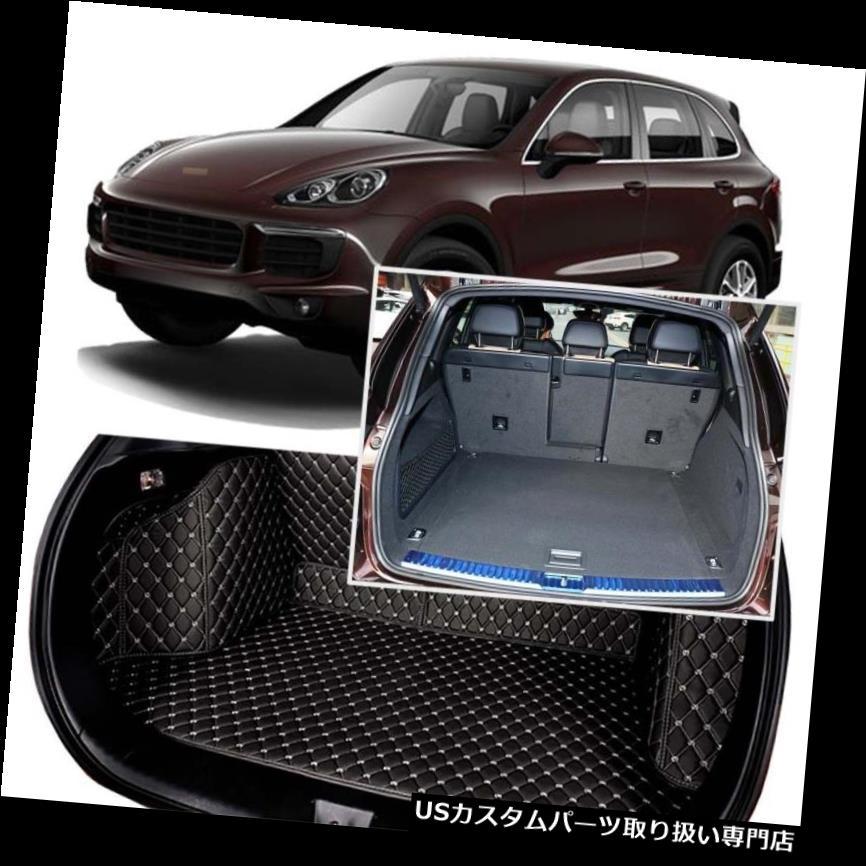 リアーカーゴカバー ポルシェカイエン11-18用ブラックリアトランクカバーカーゴマットシート&フロアプロテクター Black Rear Trunk Cover Cargo Mats Seat&Floor Protector For Porsche Cayenne 11-18