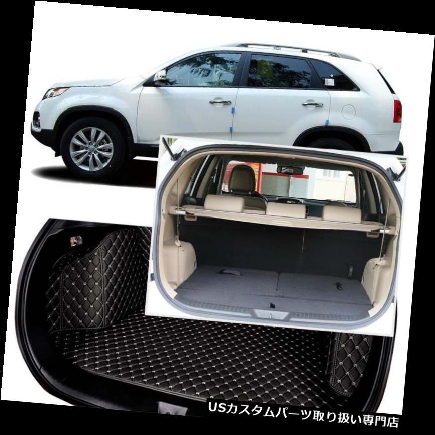 リアーカーゴカバー Kia Sorento 7シート用ブラックリアトランクカバーカーゴマットシート&フロアプロテクター Black Rear Trunk Cover Cargo Mats Seat&Floor Protector For Kia Sorento 7 Seats
