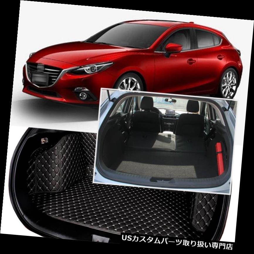リアーカーゴカバー Mazda 3 Axela 2014-16用ブラックリアトランクカバーカーゴマットシート&フロアプロテクター Black Rear Trunk Cover Cargo Mats Seat&Floor Protector For Mazda 3 Axela 2014-16