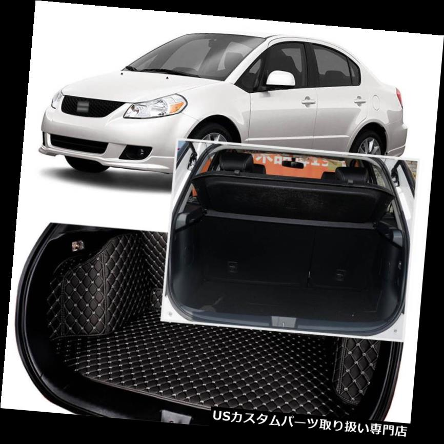 リアーカーゴカバー スズキSX4 2012-2016用ブラックリアトランクカバーカーゴマットシート&フロアプロテクター Black Rear Trunk Cover Cargo Mats Seat&Floor Protector For Suzuki SX4 2012-2016