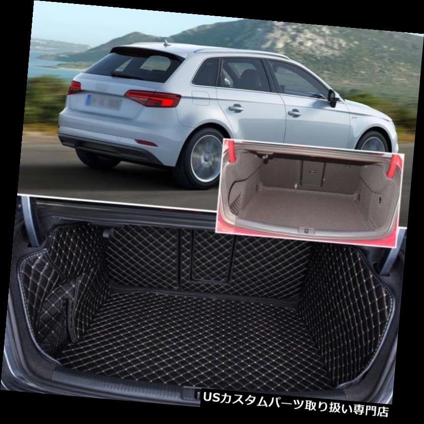 リアーカーゴカバー アウディA3のためのPUレザーリアトランクカバーカーゴマットシートバックプロテクターカーペット PU Leather Rear Trunk Cover Cargo Mats Seat Back Protector Carpets For Audi A3