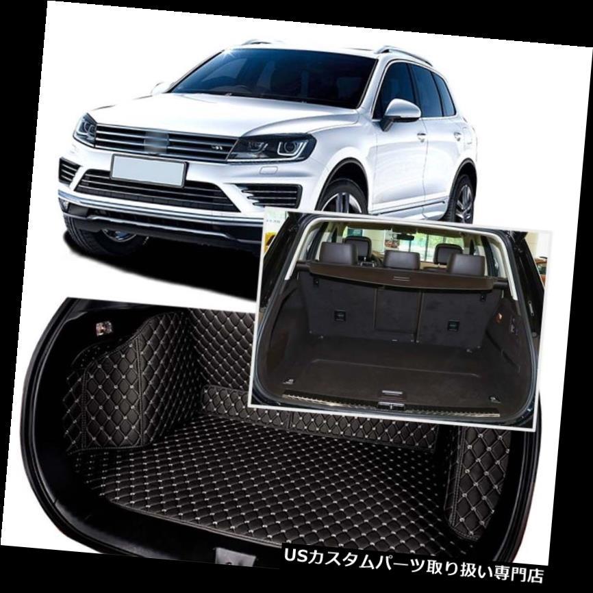 リアーカーゴカバー VW Touareg 2011-2018用ブラックリアトランクカバーカーゴマットシート&フロアプロテクター Black Rear Trunk Cover Cargo Mats Seat&Floor Protector For VW Touareg 2011-2018