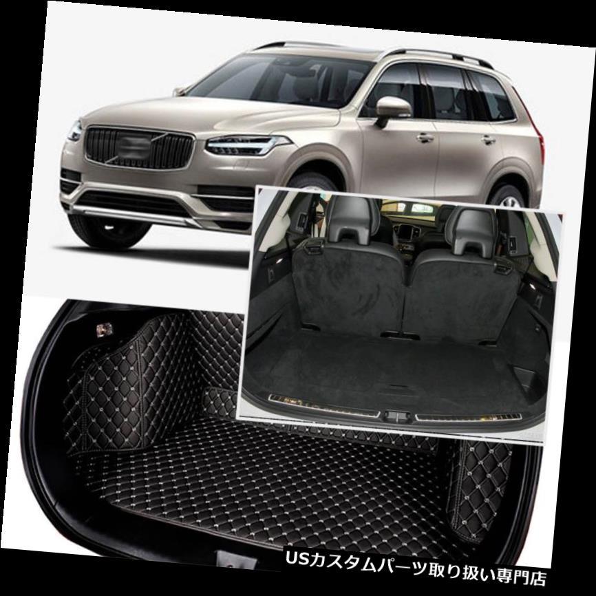 リアーカーゴカバー ボルボXC90 2015-2018用ブラックリアトランクカバーカーゴマットシート&フロアプロテクター Black Rear Trunk Cover Cargo Mats Seat&Floor Protector For Volvo XC90 2015-2018