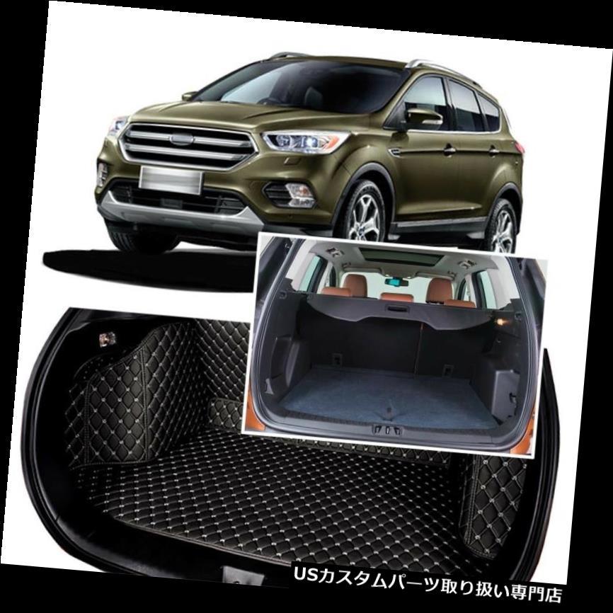 リアーカーゴカバー 1セットブラックリアトランクカバーカーゴマットシート&フロアプロテクターフォードクガ2013 1Set Black Rear Trunk Cover Cargo Mats Seat&Floor Protector For Ford KUGA 2013